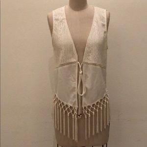 Jackets & Blazers - Cream Fringe Vest